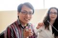 DAniel Epstein(I  )  Unreasonable Institute, Rodriguez Ibarra (c)  y Tom Chi (D) desarrollador de Google Glass. La fundacion centro de estudios Rodriguez Ibarra, presentacion de la semana de encuentros de la sociedad de la imaginacion.
