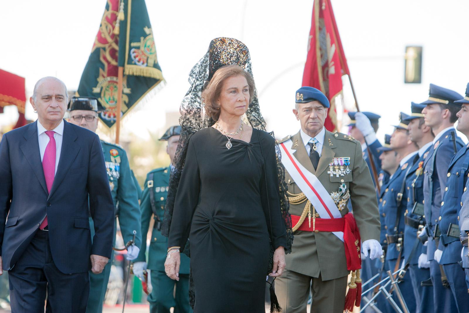 Badajoz, Casa Real, Dia del pilar, La reina doña sofia, presde los actos de celebracion del dia del pilar, patrona de la guardia civil